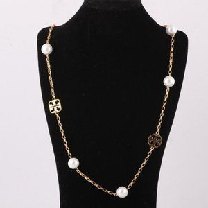 Tory Burch Pearl Letter T Logo Necklace